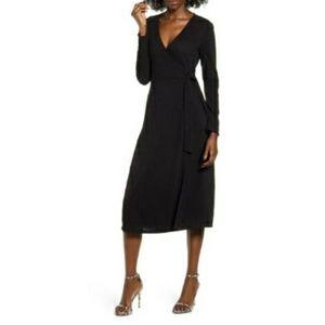 All In Favor Wrap Front Mini Black Dress